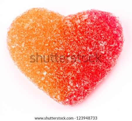 gummy heart shaped sugar coated - stock photo