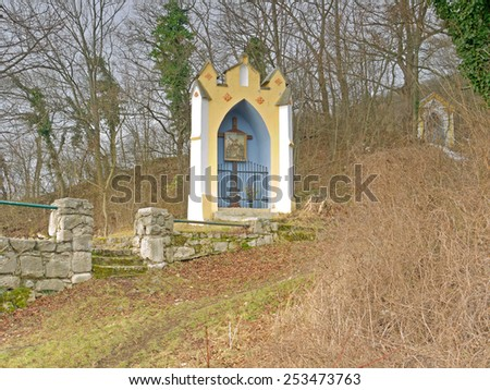 Gumpoldskirchen, AUSTRIA - 17  February 2015: The stations of the cross are a landmark of Gumpoldskirchen, Lower Austria. They are located at a hiking trail.  - stock photo