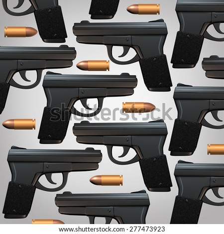 Gun and bullet background for legal social issues and firearm laws concept as a generic three dimensional handgun and bullets as a symbol for revolver owners and weapons possession. - stock photo