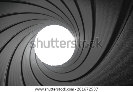 Gun barrel interior spy background in 3D - stock photo