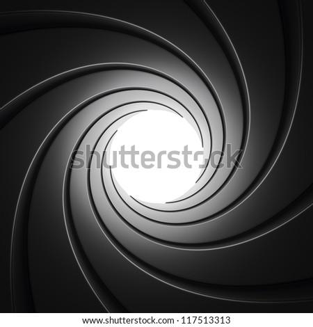 Gun Barrel seen from inside against white background - stock photo