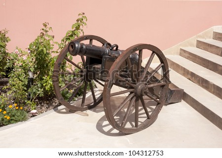 Gun before the entrance to the fourteenth century palace Kurozweki, Poland - stock photo