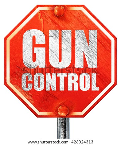 gun control, 3D rendering, a red stop sign - stock photo