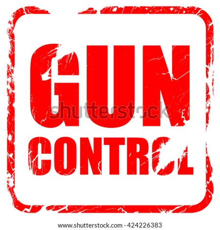 gun control, red rubber stamp with grunge edges - stock photo