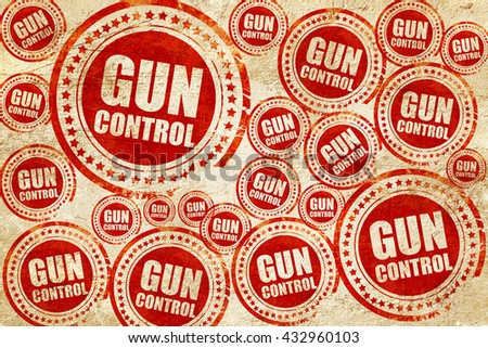 gun control, red stamp on a grunge paper texture - stock photo