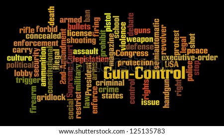 Gun Control Word Cloud on Black Background - stock photo
