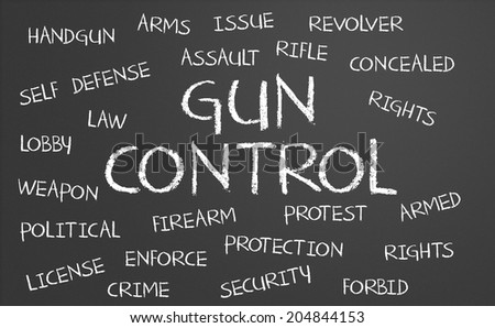 Gun Control word cloud written on a chalkboard - stock photo