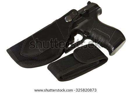 Gun holster made of leather and textile material on a white background - stock photo