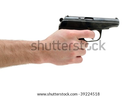 Gun in a man's hand is isolated on white background. - stock photo