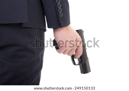 gun in business man hand isolated on white background - stock photo