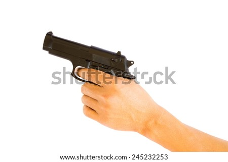 Gun in the hand on white background isolated - stock photo