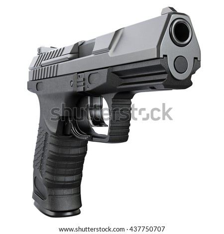 Gun metallic police, military, black on white background isolated, front view. 3D graphic - stock photo