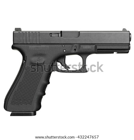 Gun metallic police, military, black on white background isolated, side view. 3D graphic - stock photo