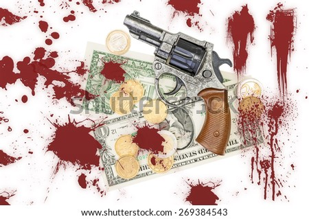 Gun, money and blood - stock photo