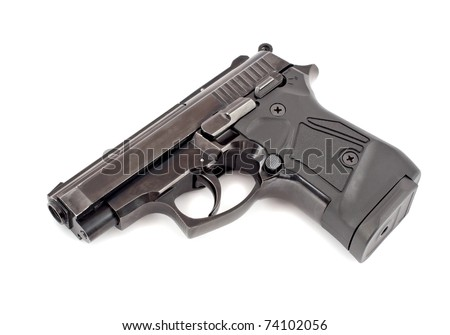 Gun on white background. Isolated - stock photo