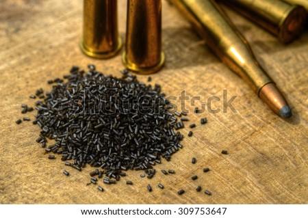 Gun Powder and Bullets - stock photo