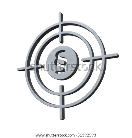 gun sight with paragraph symbol on white background - 3d illustration - stock photo