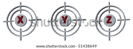 gun sights with the letters x, y and z on white background - 3d illustration - stock photo