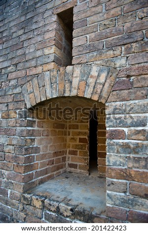 Gun Slots in Brick - stock photo