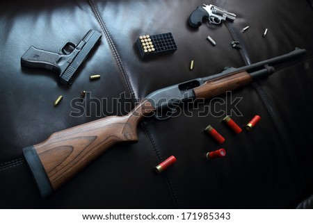 Gun weapon set - stock photo