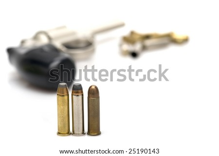gun with bullets on white - stock photo