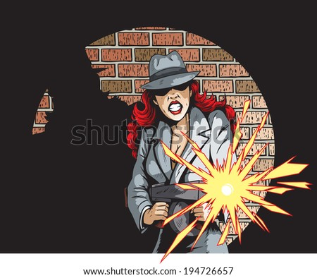 Gunning Gangster Gal  - stock photo