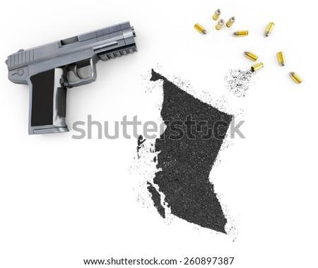 Gunpowder forming the shape of British Columbia and a handgun.(series) - stock photo