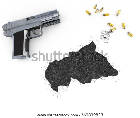 Gunpowder forming the shape of Central African Republic and a handgun.(series) - stock photo