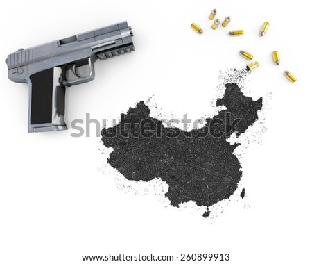 Gunpowder forming the shape of China and a handgun.(series) - stock photo