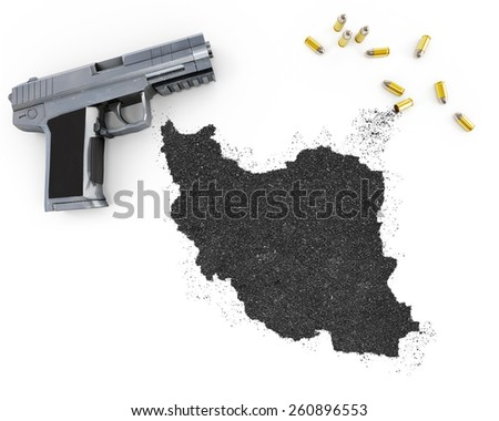 Gunpowder forming the shape of Iran and a handgun.(series) - stock photo