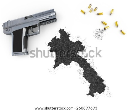 Gunpowder forming the shape of Laos and a handgun.(series) - stock photo