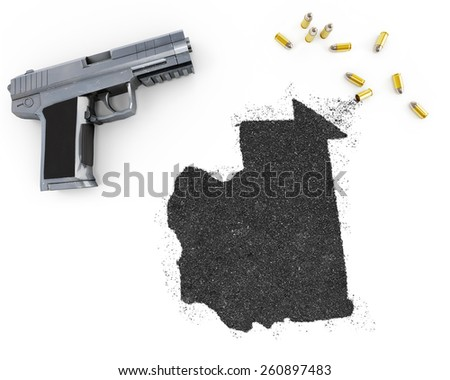 Gunpowder forming the shape of Mauritania and a handgun.(series) - stock photo