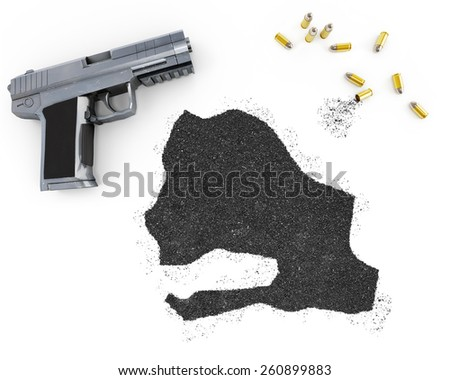 Gunpowder forming the shape of Senegal and a handgun.(series) - stock photo