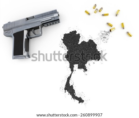 Gunpowder forming the shape of Thailand and a handgun.(series) - stock photo