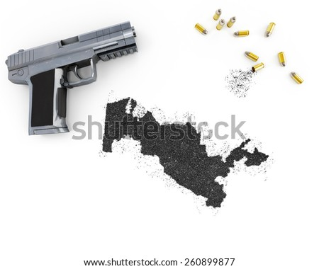 Gunpowder forming the shape of Uzbekistan and a handgun.(series) - stock photo