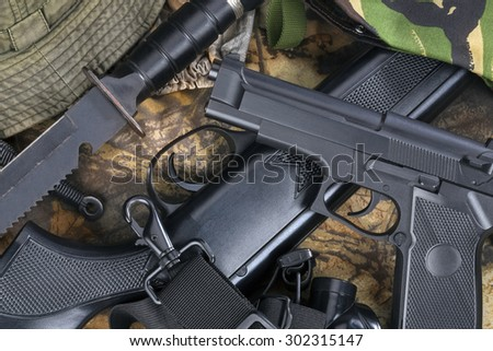 Guns and weapons - stock photo