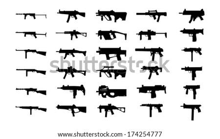 Guns silhouettes set. Isolated on white background. - stock photo