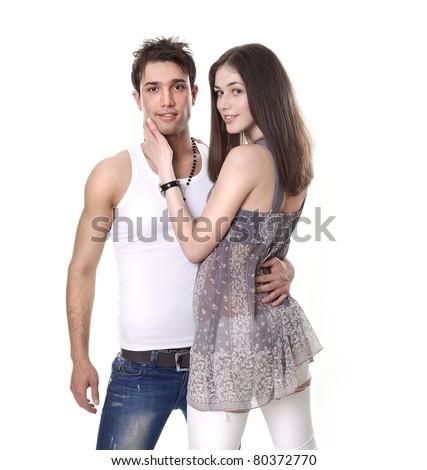 Guy and girl embracing - stock photo