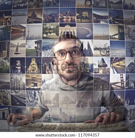 Guy choosing a place to go - stock photo