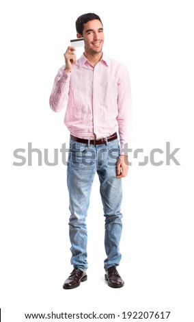 guy holding a credit card - stock photo