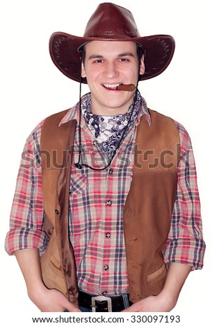 guy in a cowboy costume for Halloween - stock photo