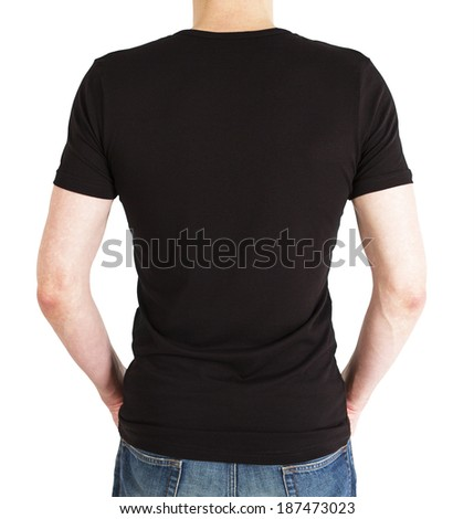 guy in black t-shirt on a white background - stock photo