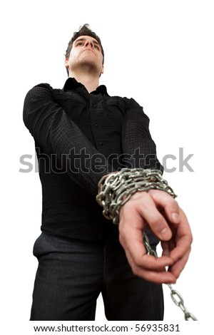 Guy in chains, isolated on white - stock photo