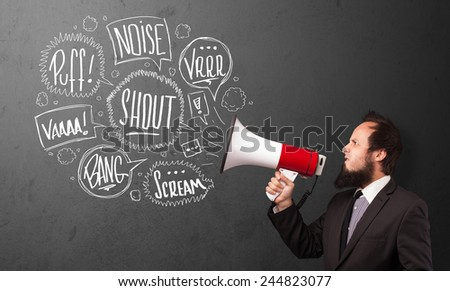 Guy in suit yelling into megaphone and hand drawn speech bubbles come out  - stock photo