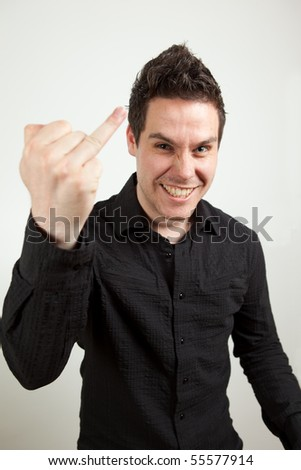 Guy pointing with his finger - stock photo
