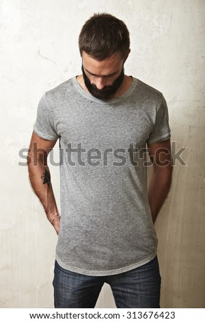 Guy wearing blank t-shirt - stock photo