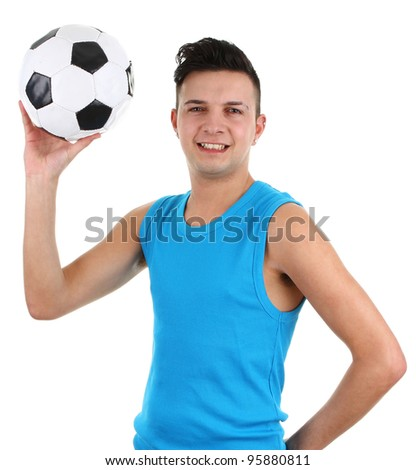 Guy with a football, isolated on white - stock photo