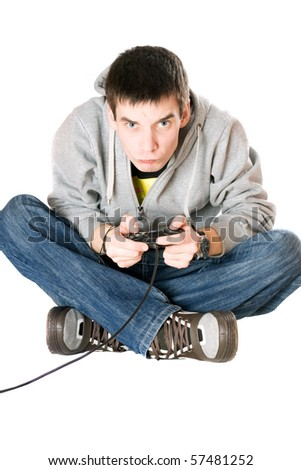 Guy with a joystick for game console - stock photo