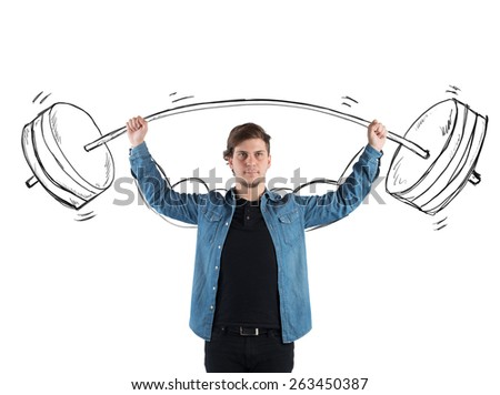 Guy with great concentration raises big weights - stock photo
