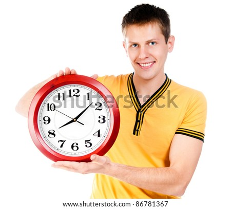 guy with wall clock isolated on white - stock photo
